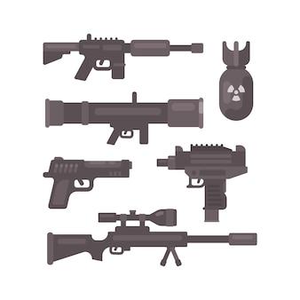 무기 평면 아이콘의 집합입니다. 군사 탄약 수집 프리미엄 벡터