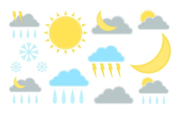 일기 예보 그림의 집합입니다. 기후 아이콘 기호입니다. 벡터 그래픽