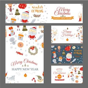 낙서 스타일의 크리스마스 카드 벡터에 크리스마스 디자인 요소가 있는 웹 배너 세트