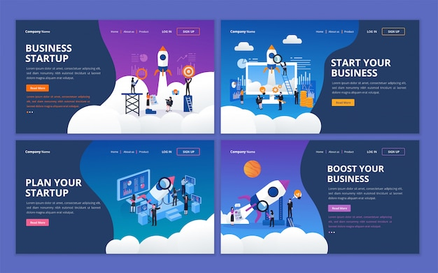 Набор шаблонов дизайна веб-страницы для начинающей бизнес компании