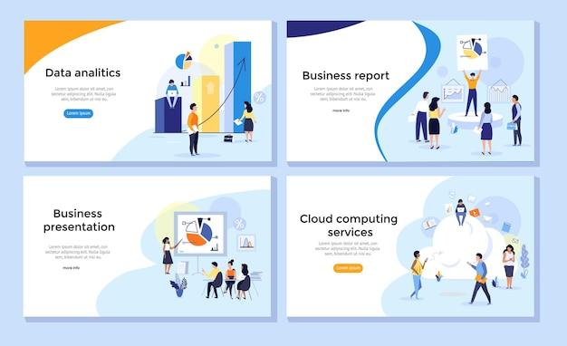 데이터 분석 통계 기업 보고서에 대한 웹 페이지 디자인 템플릿 집합