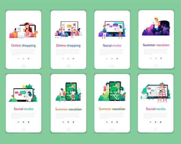 온라인 쇼핑, 디지털 마케팅, 소셜 미디어, 여름 휴가 웹 페이지 디자인 템플릿 집합입니다. 웹 사이트 및 모바일 웹 사이트 개발을위한 현대 벡터 일러스트 레이 션 개념.