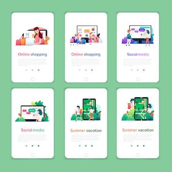 オンラインショッピング、デジタルマーケティング、ソーシャルメディア、夏休みのwebページデザインテンプレートのセット。