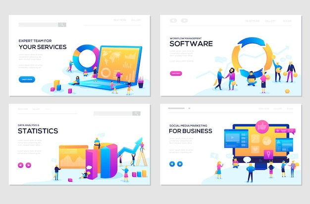 Webページテンプレートのセット。バナーウェブサイトとモバイルウェブサイトの開発