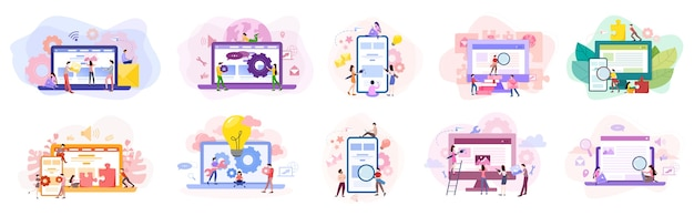 Набор баннеров для разработки веб-сайтов. программирование веб-страниц и создание адаптивного интерфейса на компьютере. иллюстрация в мультяшном стиле