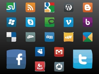 Set of website icons and logos