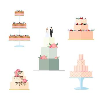 흰색 배경에 격리된 꽃 장식이 있는 웨딩 케이크 세트입니다. 활과 토퍼 신부와 신랑 일러스트와 함께 웨딩 파이