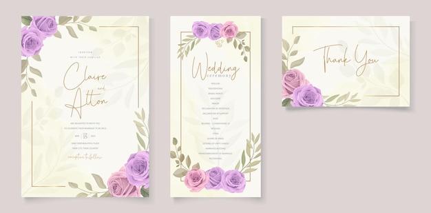 보라색 장미와 웨딩 카드 디자인의 세트