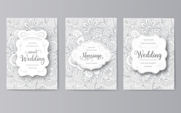 Набор свадебных карт флаер страниц орнамент концепции. урожай традиционное искусство, оттоманские мотивы, элементы.
