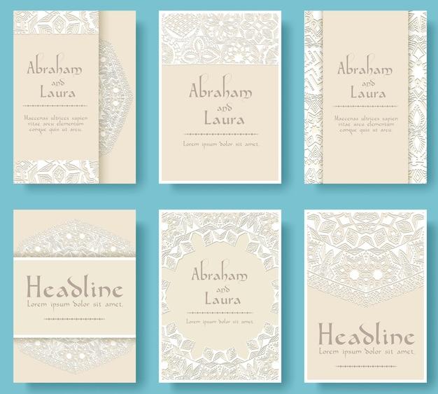 Набор свадебных карт флаер страниц орнамент иллюстрации концепции.