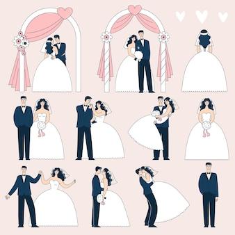 다른 포즈의 웨딩 커플 세트입니다. 웨딩 아치 아래 신부와 신랑입니다. 낙서 벡터 일러스트 레이 션