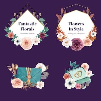 수채화 스타일의 웨딩 꽃다발 세트