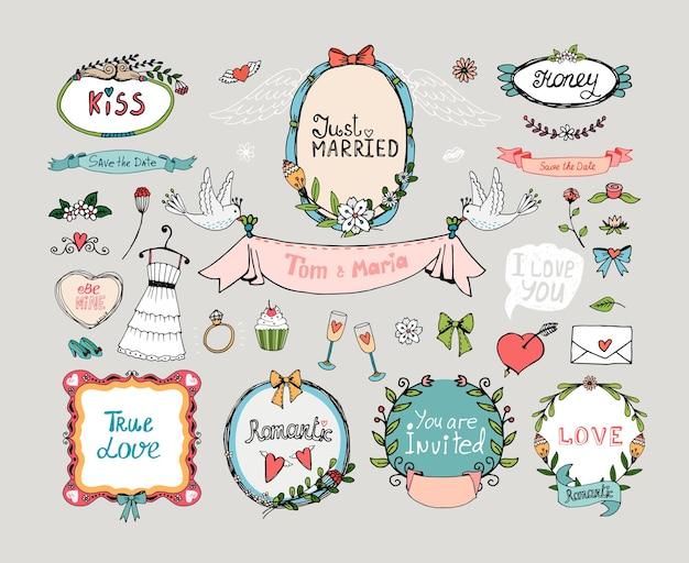 結婚式のグラフィックのセット。ロマンスと愛、結婚と花、花、フィリグリー。