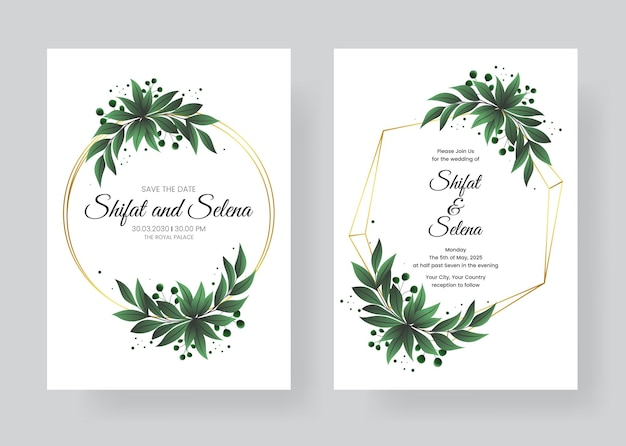 美しい葉と水彩の招待状を描く結婚式の手描きのセット