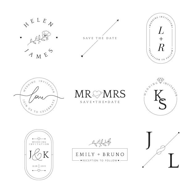 결혼식 초대 배지 디자인 벡터의 집합