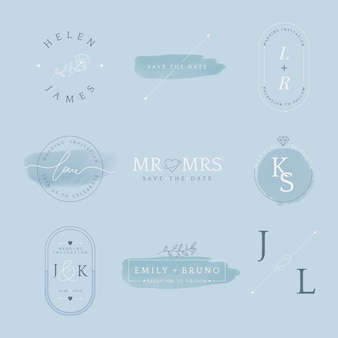Set of wedding invitation badge