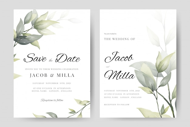 결혼식 초대 카드 녹지의 집합 수채화 분기 템플릿 나뭇잎.