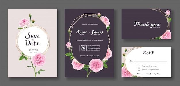 結婚式の招待カードのテンプレートのセットです。ピンクのバラの花。