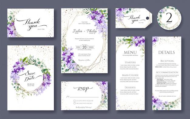 結婚式の招待カードテンプレートのセット。紫の花輪の花。