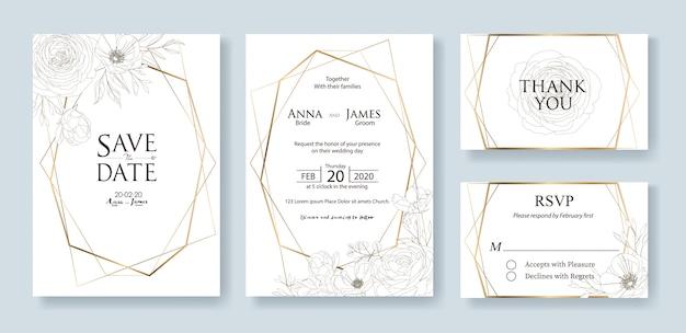 結婚式の招待カードのテンプレートのセットです。バラの花。 Premiumベクター