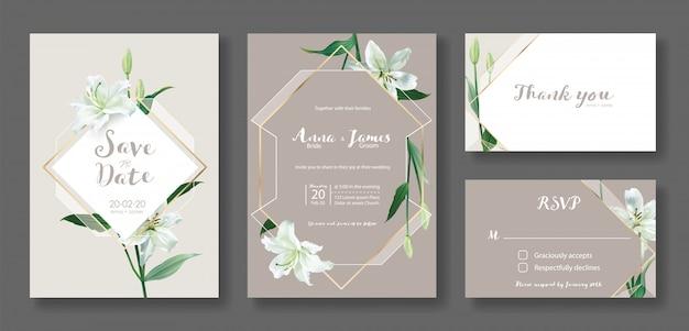 결혼식 초대 카드 템플릿 집합입니다. 흰 백합 꽃입니다. 프리미엄 벡터