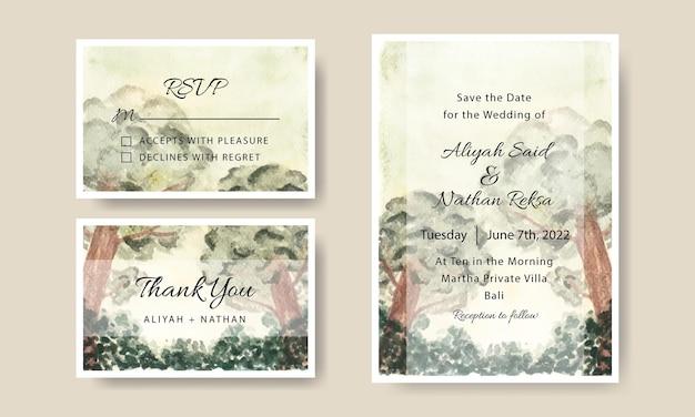 Набор шаблонов свадебного приглашения с акварельным фоном сцены дерева