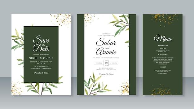 葉の水彩画を使った結婚式の招待カード テンプレートのセット