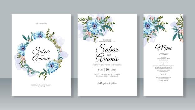 水彩画の花を使った結婚式の招待カード テンプレートのセット
