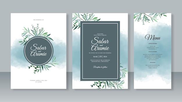 葉と水しぶきの水彩画を使った結婚式の招待カード テンプレートのセット