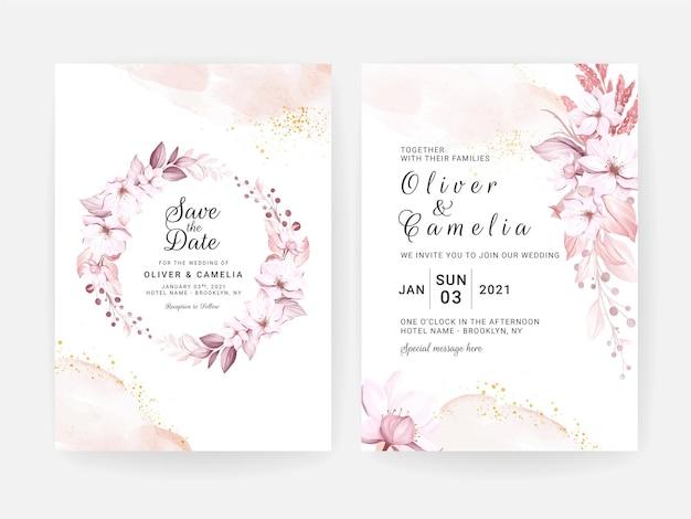 美しい柔らかなクリーミーな花と葉の結婚式の招待カードのセット Premiumベクター