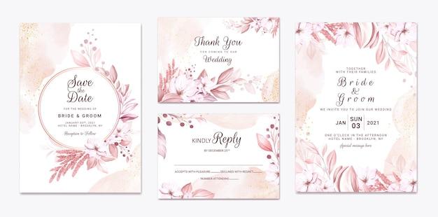 美しい柔らかなクリーミーな花と葉の結婚式の招待カードのセット