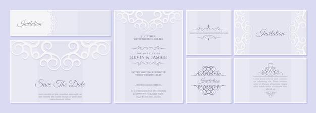 Набор свадебных пригласительных билетов с цветочными орнаментами