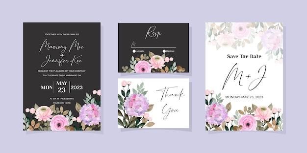 柔らかい紫の花の水彩画と結婚式の招待カードのセット