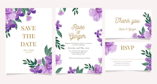 수채화 꽃 결혼식 초대 카드 세트