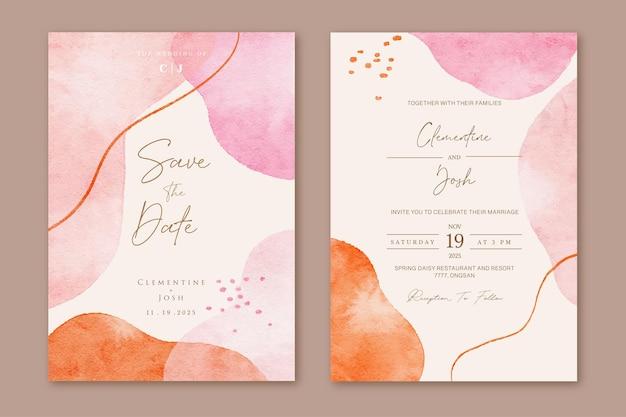 수채화 유체 추상 모양 배경으로 결혼식 초대 카드 세트