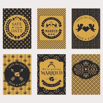 結婚式の招待カードのセット。黒と金色のエレガントなカードテンプレート。