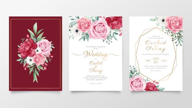 水彩花飾り付き結婚式招待状カードテンプレートのセット