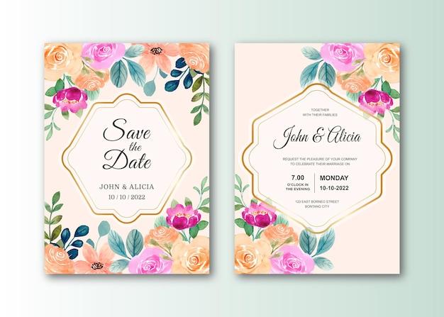 カラフルな水彩のバラと結婚式の招待カードのセット
