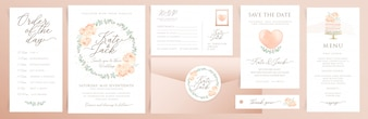 Набор свадебных пригласительных билетов с акварельными элементами