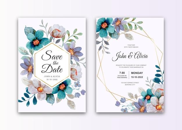 水彩画の緑灰色の花と結婚式の招待カードのセット