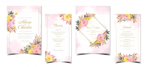 아름 다운 분홍색과 노란색 꽃으로 청첩장 컬렉션 집합