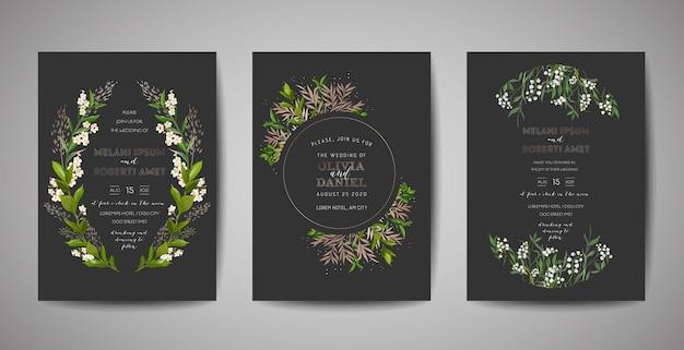 Набор свадебных приглашений, цветочные приглашения, спасибо, rsvp деревенский дизайн карты с украшением золотой фольгой. элегантный современный шаблон вектор на черном фоне