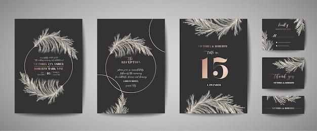 결혼식 초대장, 꽃 초대장, 감사합니다, 금박 장식이 있는 소박한 카드 디자인. 벡터 우아한 현대 템플릿, 유행 표지, 그래픽 포스터, 복고풍 브로셔, 디자인 서식 파일