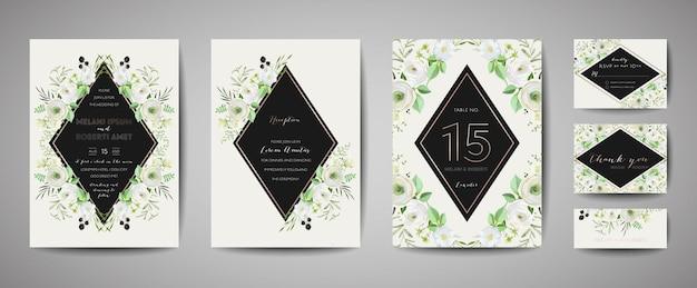 Набор свадебных приглашений, цветочные приглашения, спасибо, rsvp деревенский дизайн карты с украшением золотой фольгой. вектор элегантный современный шаблон, модная обложка, графический плакат, ретро брошюра, шаблон оформления