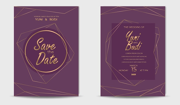 結婚式の招待状のセット豪華な黄金のエレガントなモダン