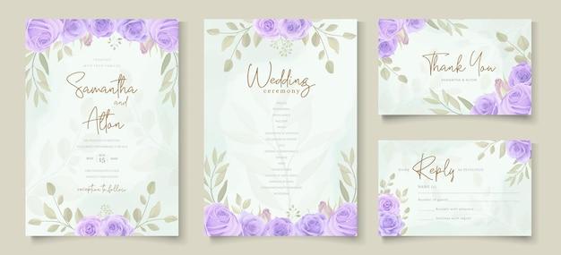 美しい紫色の咲くバラのデザインと結婚式の招待状のテンプレートのセット