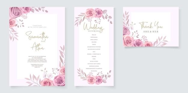 美しい柔らかいピンクの咲くバラのデザインと結婚式の招待状のテンプレートのセット