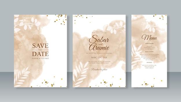 水彩の抽象的なスプラッシュ絵画とキラキラと結婚式の招待状のテンプレートのセット