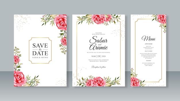 バラの水彩画と結婚式の招待状のテンプレートのセット
