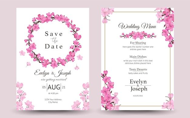 桜と結婚式の招待状のセット